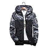 メンズ ウィンドブレーカー 迷彩 ジャケット 軽量 防風 撥水 カモフラ スポーツ アウトドア パーレジャーファッション メンズ グレー-XL