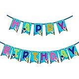 ベビーシャーク ハッピーバースデー バナー パーティー用品 子供と大人用 誕生日パーティーデコレーション 1セット