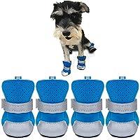 犬の靴、春と夏通気性のスキッドプルーフマジックテープストラップで快適な犬のブーツメッシュソフトラバーソールアウトドアスポーツ4 PCSスモールドッグシューズサンダルスツールプロテクター3カラー&4サイズ (Color : Blue, Size : 40#)