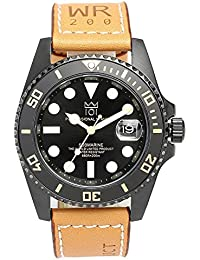 [HYAKUICHI 101] ヒャクイチ ダイバーズウォッチ 20気圧防水 腕時計 逆回転防止ベゼル レザーベルト ロングタイプ メンズ