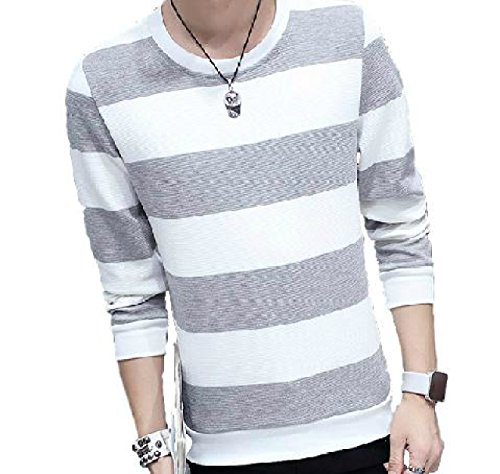 hipa hipa 長袖 Tシャツ ロンT ボーダー カットソー シャツ 白黒 モノトーン 黒 紺 しましま(グレー/XLサイズ)