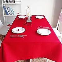 ポリエステルソリッドカラー テーブル クロス,油-証拠流出-証明 テーブルカバー 長方形ラウンドアンチ-フェージング テーブル クロス レストランテーブル-赤 240x240cm