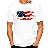 Tシャツ Hosam メンズtシャツ 丸首 半袖 白t プリント 星 ストライプ スケルトン 旧式カメラ 個性的 夏着 日常 通勤 シンプル (S, 旗)