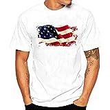 メンズ Tシャツ Tシャツ Hosam メンズtシャツ 丸首 半袖 白t プリント 星 ストライプ スケルトン 旧式カメラ 個性的 夏着 日常 通勤 シンプル (L, 旗)