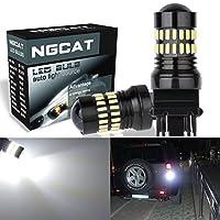 NGCAT 3157 T25 LED電球1200LMキセノンホワイト非常に明るい48-SMD 4014 LEDチップセット3156 3057 4057 4157 LEDターンシグナルライト用プロジェクター付きテールバックアップリバースライト(2個入り)