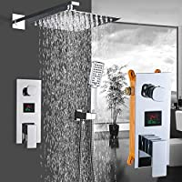 浴室の蛇口クロームポリッシュデジタルディスプレイレインシャワー風呂蛇口壁マウントバスタブシャワーミキサータップ浴室のシャワー蛇口,3