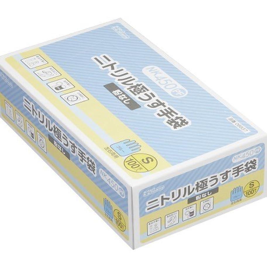 パッドアトラス設置粉なしニトリル極うす手袋 100枚入 Sサイズ NK-450