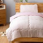 Bedsure 肌布団 掛けふとん コットン100% 肌掛け布団 シングル 140×190cm 洗える 一年中使える ピンク わた入り 衿付き仕様 シングル 薄手