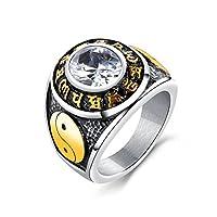 Adisaer ステンレス シルバー ブラック ソリティア ホワイト 白い ジルコニア アジア スタイル 太極 パンク スタイル メンズ カッコいい 人差し指 指輪 リング サイズ: 14