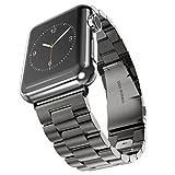 Apple Watch 金属ベルト Evershop 42mmステンレス アップルウォッチ ベルト ビジネス風 時計バンド 腕時計ストラップ バンド調整 series 1 series 2 series 3対応 (42mm, ブラック)