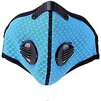 Yihao モノクロームマスクダストマスク登山スキーアウトドアスポーツマスク活性炭フィルターPM 2.5花粉アレルギー (ブルー)