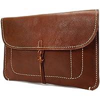 LDUNDUN-BAG, 2019 Men's Clutch Handmade Leather Retro Slim Folder Top Leather (Color : Brass, Size : S)