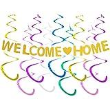 歓迎パーティー飾り 帰宅お祝い welcome home バナー ゴールド 渦巻き スパイラルチャーム ベビーシャワー 家族行事 パーティー飾り付け