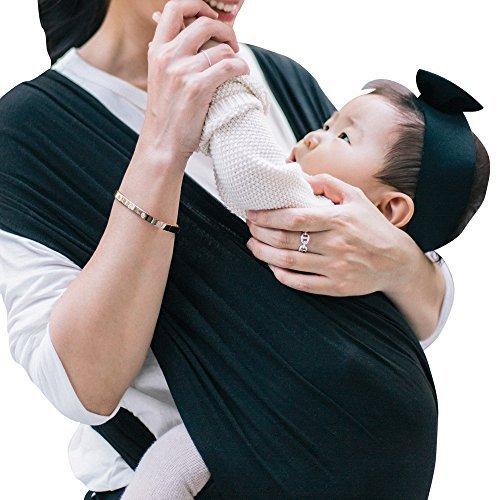 【ママリ口コミ大賞受賞】コニー抱っこ紐 (Konny by Erin) スリング 新生児から20kg 収納袋付き 国際安全認証取得 ぐっすり抱っこひも (ブラック) (M)