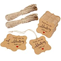Aprince用紙FavorギフトタグThank YouタグWedding FavorギフトタグThank You For Celebrating With Us 100個スクエアタグ20M Natural Jute Twine Perfect for BridalベビーシャワーAnniversaryブラウン