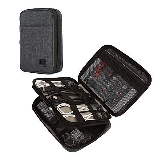 (バッグスマート)BAGSMART ガジェットポーチ PC周辺小物用収納ポーチ 2段式 撥水加工 iPad mini・タブレット収納ケース ケーブル・モバイルバッテリー収納ポーチ