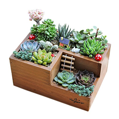 Demiawaking 寄せ植えの箱 肉植物・観葉植物対応 フラワースタンド 植木鉢 フラワーポット 収納ボックス アンティーク木箱(3#)