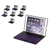 【PCATEC】 iPad air2 キーボードケース/キーボードカバー 7色のバックライト スタンド機能 ワイヤレスbluetoothキーボード リチウムバッテリー内蔵 人気 かっこいい アルミ合金製 (ブラック)