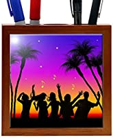 Rikki Knight RK-PH1524 Beach Party Silhouette Design 5-Inch Wooden Tile Pen Holder (RK-PH1524) [並行輸入品]