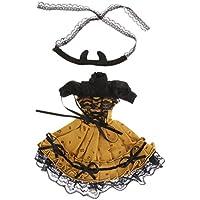 Lovoski 1/6 BJD BBガール人形用 ファッション タートルネック パフスリーブ プリーツドレス ワンピース ヘアバンド