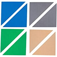 (Triangle, 01 - Blue, Green, Gray, Sand) - Classic 25cm Triangle Baseplates by Strictly Briks Building Brick Base Plates 100% Compatible with All Major Brands Building Bricks for Towers 8 Stackable Bases in Blue, Grey, Green, and Sand