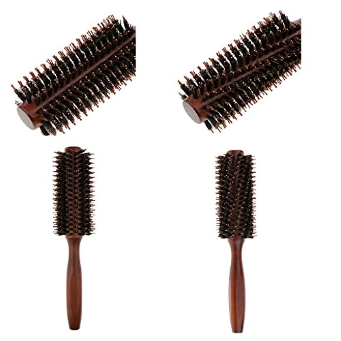 アクセルひばりゆるいToygogo 2ピース/個木製ハンドル剛毛ナイロンヘアケアラウンドブラシアンチ脱毛コーム