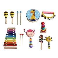 Yibuy 9個セット 多色 木製 子供 打楽器 キット バッグ付き 幼児 パーカッション バッグ付き 教育楽器 女の子のセット