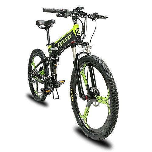 Cyrusher XF770 電動アシスト自転車 フルサスペンション 26インチ 250w 48V10ahリチウム電池 折り畳みアシスト自転車 9段速 マウンテンバイク デスクブレーキ 通勤 通学 防犯登録可能 (GREEN)