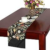 LKCDNG テーブルランナー レトロの花 クロス 食卓カバー 麻綿製 欧米 おしゃれ 16 Inch X 72 Inch (40cm X 182cm) キッチン ダイニング ホーム デコレーション モダン リビング 洗える