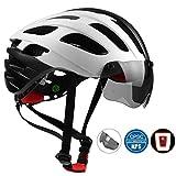 Shinmaxバイクヘルメット、自転車ヘルメット CPSC認定LED安全ライト付きのヘルメット、調整可能 快適 男女兼用 サイクリング/山地/道路に最適のヘルメット (白)