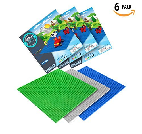 """LEGO Baseplate By Yarrdee   Will Not Warp   10"""" x 10"""" Large   6 Pieces   Blue - Green - Gray   Lego Base Plate Perfect For Lego Activity Table   Tight Fit & Compatible With Legos [並行輸入品]"""