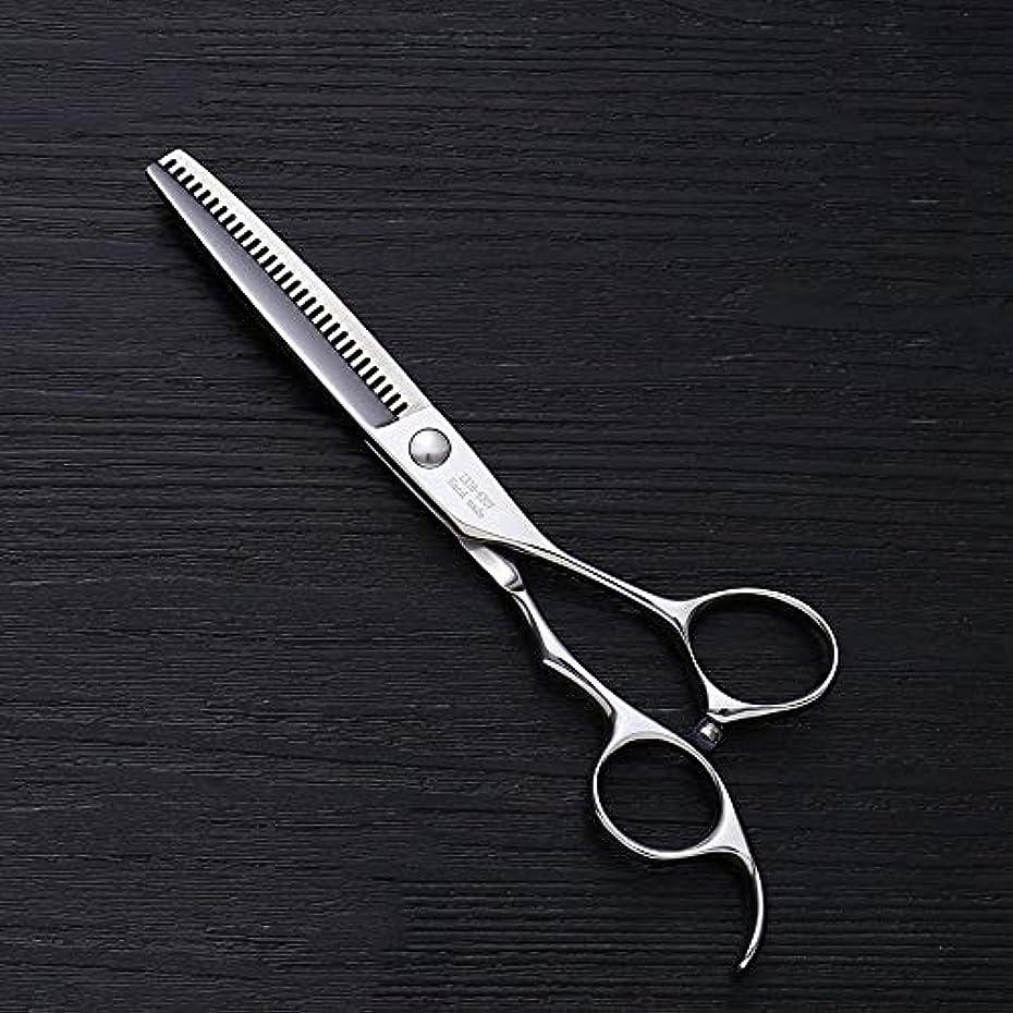 泥棒廃棄退院6インチV型30歯散髪用はさみ、美容院プロフェッショナル理髪用はさみ ヘアケア (色 : Silver)