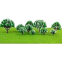【ノーブランド品】樹木 木 モデルツリー 花付 10本セット 高さ3-8cm 4色 鉄道模型 建築模型 電車模型にジオラマ (No.3)