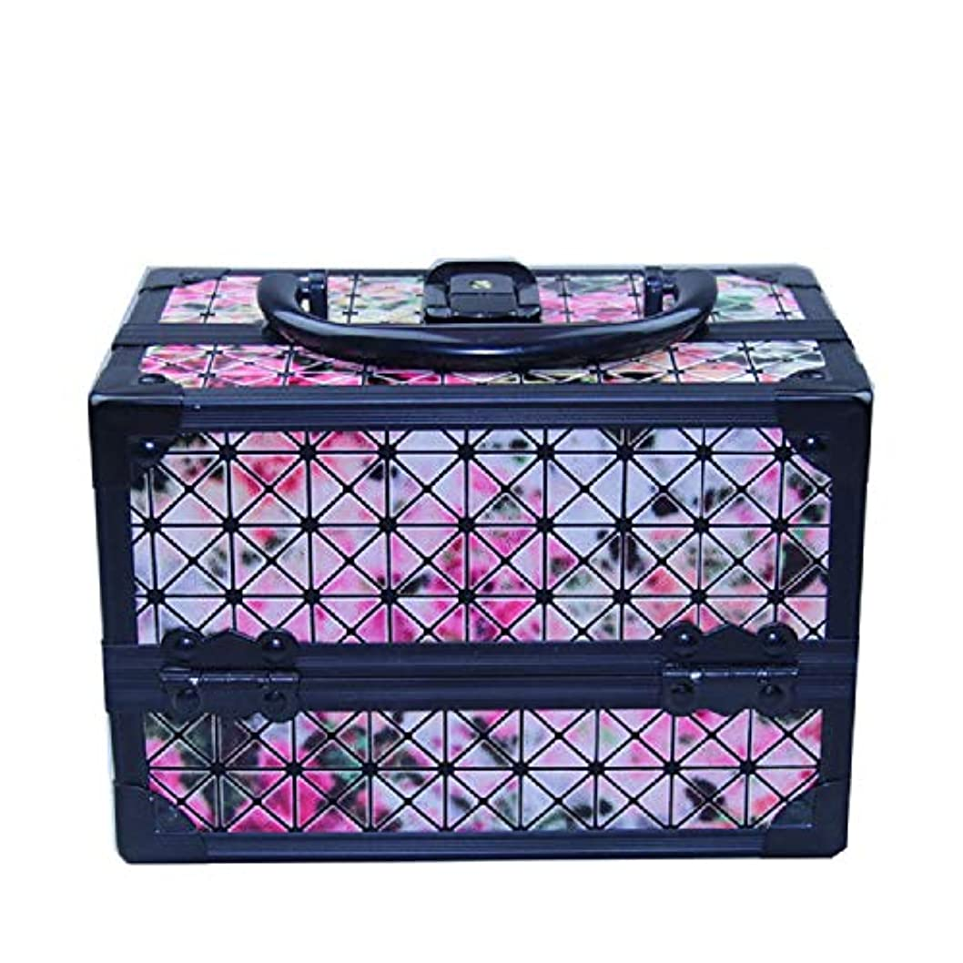 調和稚魚ループ化粧オーガナイザーバッグ 美容メイクアップと女の子の女性のための光沢のあるポータブル化粧ケースケースとロックとトレイ付きの毎日の保管 化粧品ケース
