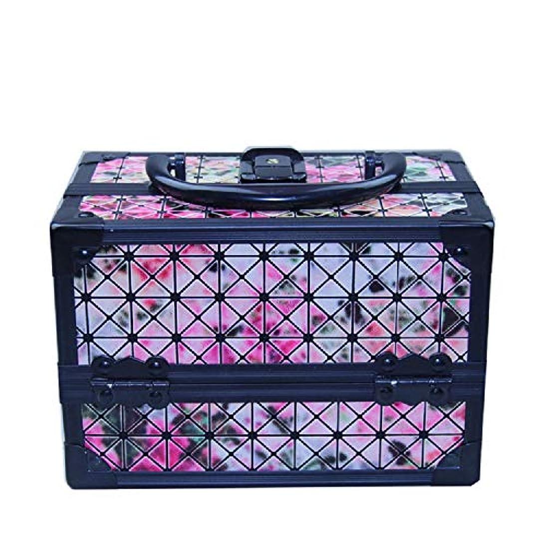 化粧オーガナイザーバッグ 美容メイクアップと女の子の女性のための光沢のあるポータブル化粧ケースケースとロックとトレイ付きの毎日の保管 化粧品ケース