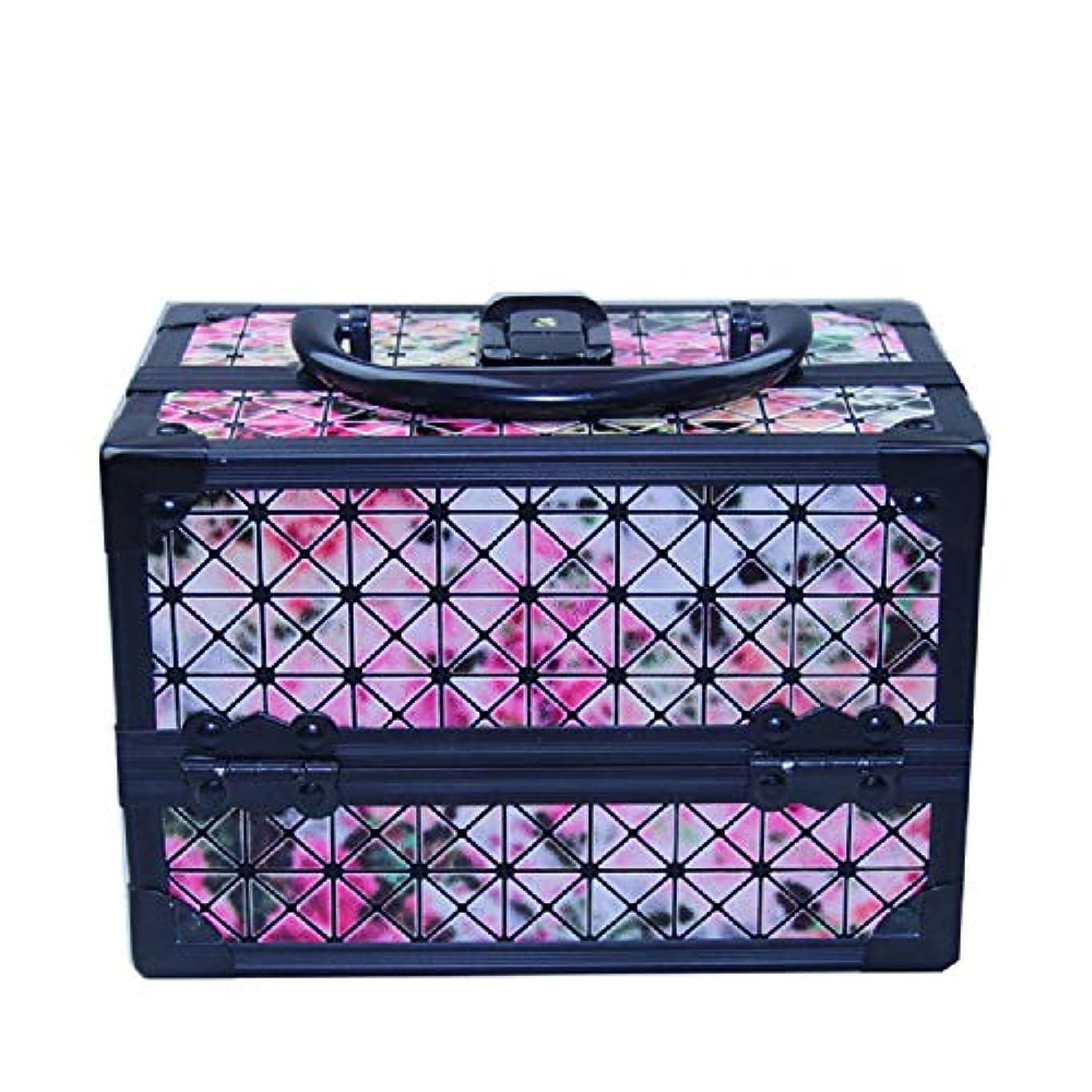 半径アンケートアジア化粧オーガナイザーバッグ 美容メイクアップと女の子の女性のための光沢のあるポータブル化粧ケースケースとロックとトレイ付きの毎日の保管 化粧品ケース