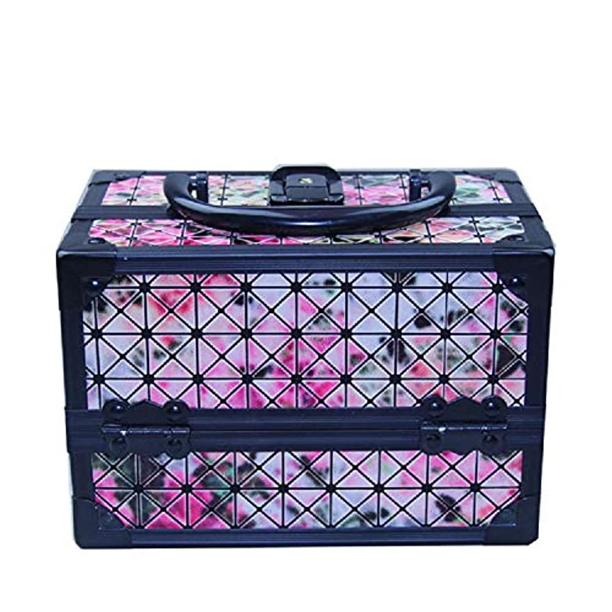 追う近所のうつ化粧オーガナイザーバッグ 美容メイクアップと女の子の女性のための光沢のあるポータブル化粧ケースケースとロックとトレイ付きの毎日の保管 化粧品ケース