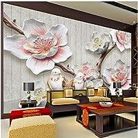 Xbwy カスタム写真の壁紙中国風の3Dレリーフ梅の花の鳥の写真壁の壁画のリビングルームの研究家の装飾-400X280Cm