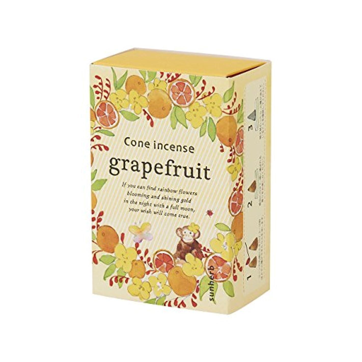 海洋援助ホストサンハーブ お香 コーンタイプ グレープフルーツ 16粒(インセンス 燃焼時間約20分 シャキっとまぶしい柑橘系の香り)
