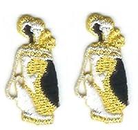 2個ロット2メタリックゴールドホワイトブラックゴルフバッグクラブ刺繍アップリケパッチ One Size