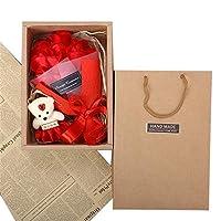 人工のバラの花 母の日のための香りのバラの花束の装飾的な石鹸の花の創造的なギフト用の箱 バレンタインデー、母の日、記念日、誕生日の贈り物として (色 : 11+bears - red)