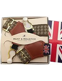 (ハントアンドホールディッチ) Hunt&Holditch ソックサスペンダー ソックスガーター ソックス止め 紳士用 メンズ 英国製 殿方用靴下吊 伸縮素材 HDT Beige 茶 B066