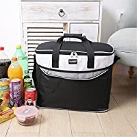 wgpfbag 34l Large Insulated Lunch Bag for Women and Men、ソフトLeakproofライナー、調節可能なストラップ付き ブラック