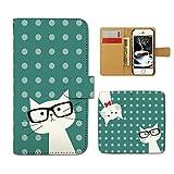 Tiara UQ mobile KC-01 スマホケース 手帳型 猫 ドット ネコ ねこ メガネ 手帳ケース カバー [E022101_04]