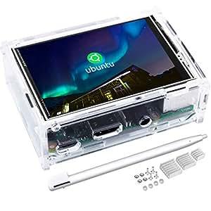 Kuman 3.5インチ Raspberry Pi用ディスプレイ タッチパネル 保護ケースセット 320*480解像度 デュアルディスプレイ同時表示 ゲームとビデオ可能 Raspberry Pi B+ 2B 3B 3B+に対応 新タイプ ラズベリーパイ3 SC107