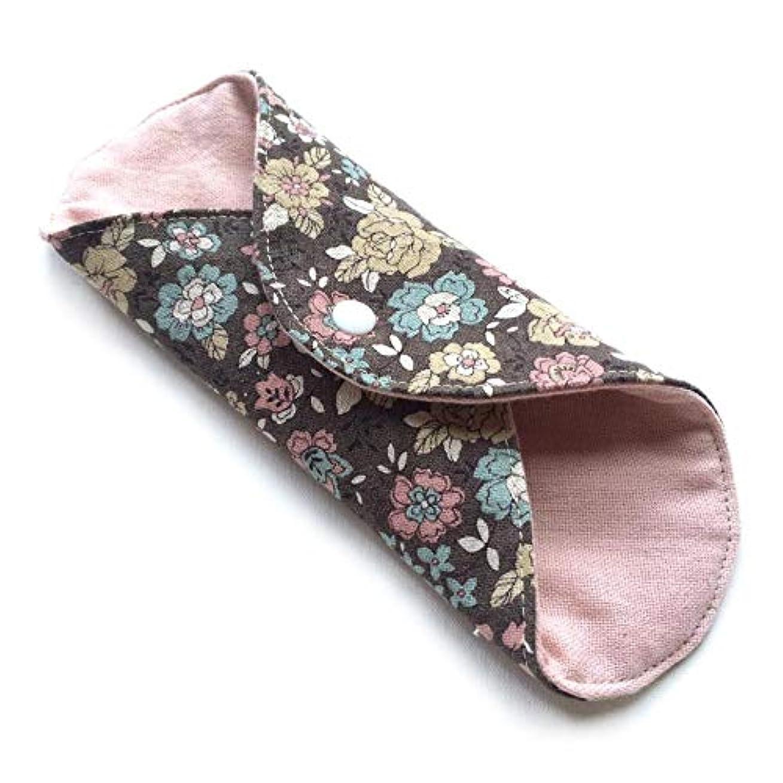 とらえどころのないキャプションハチ華布 オーガニックコットンの草木染プレミアム Mサイズ(約15×約15cm) 茜(黒花)