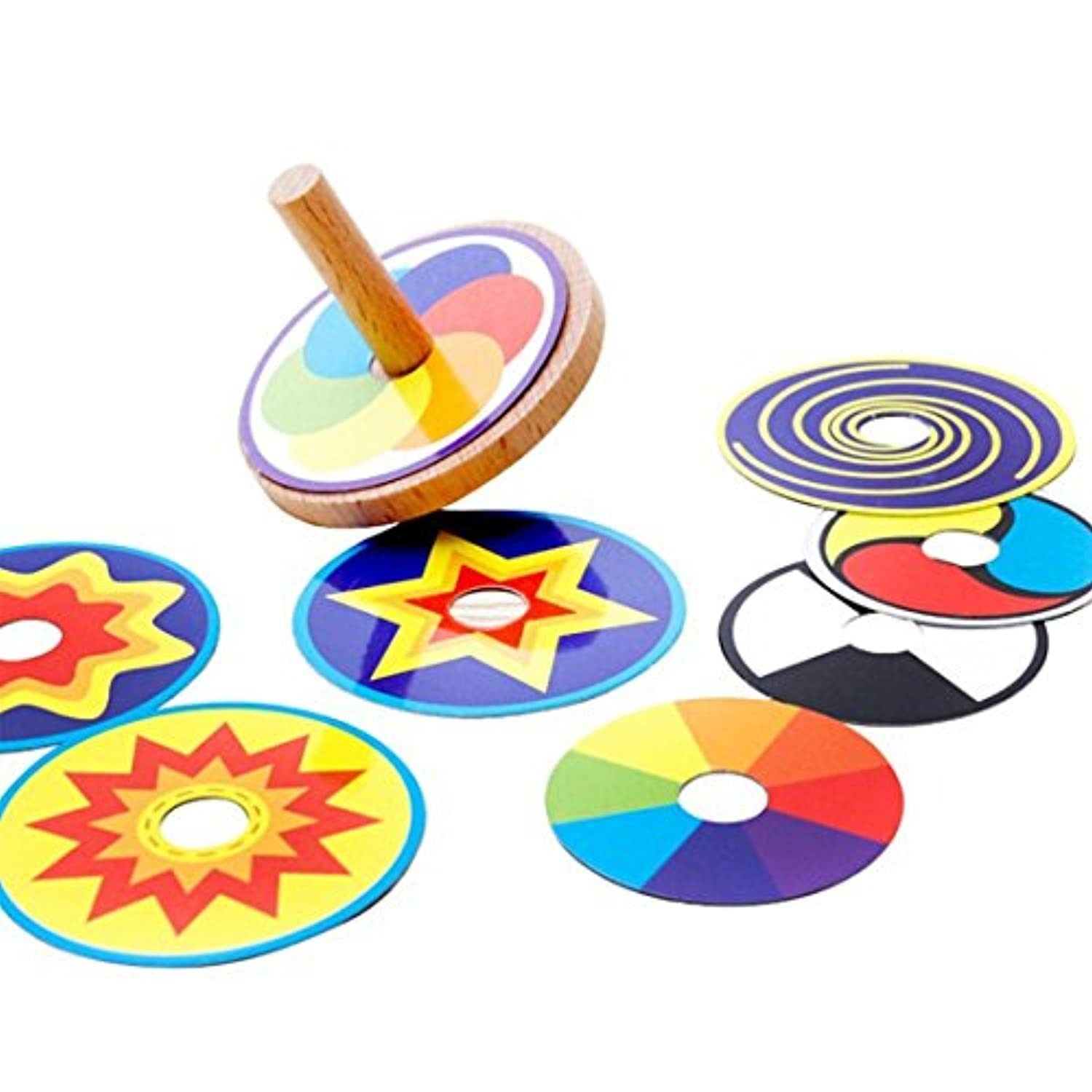 Kids Toy Wood Spinning Top Classic Toy Montessori Colourful 8 Drawing Card Sticker Early Educational Beech