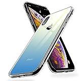 【Humixx】iPhone Xs ケース iPhone X ケース 高透明感 光学式メッキ加工 高純度ガラス仕様 黄変防止 ハイブリッドケース ストラップホール付き 滑り止め付き[Crystal Series](5.8