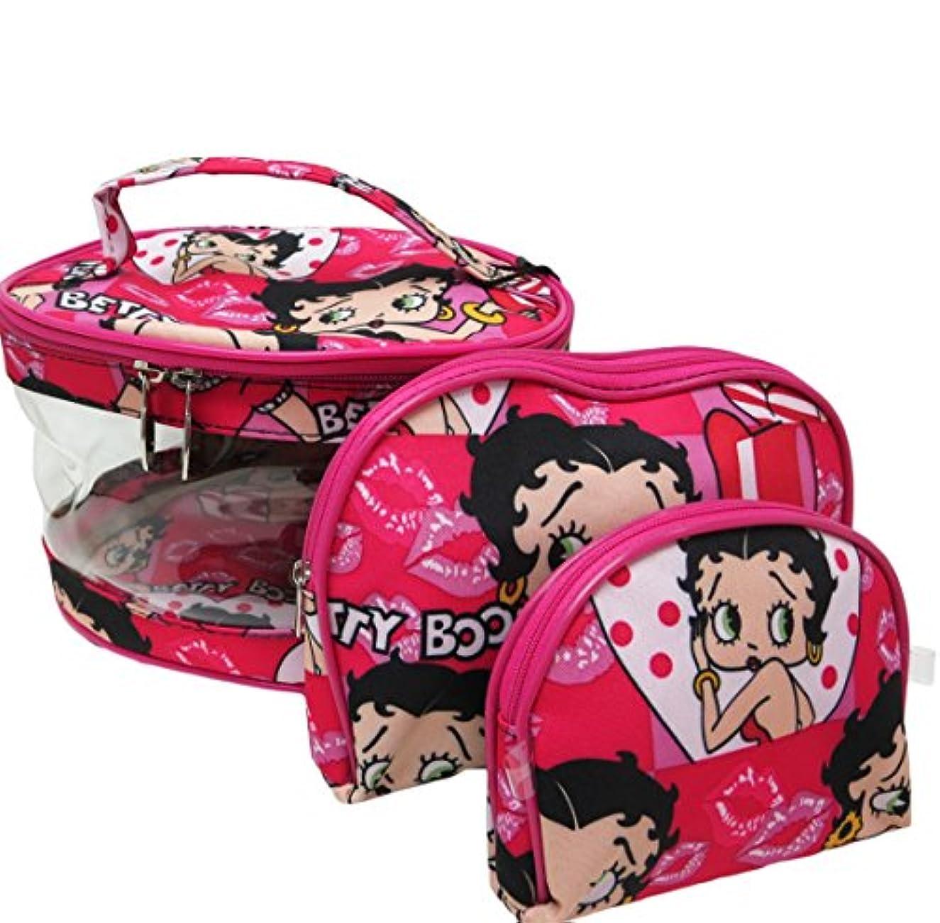 捕虜入場料周術期Betty Boop ベティーブープ コスメティックバッグ3Pセット (ピンク)