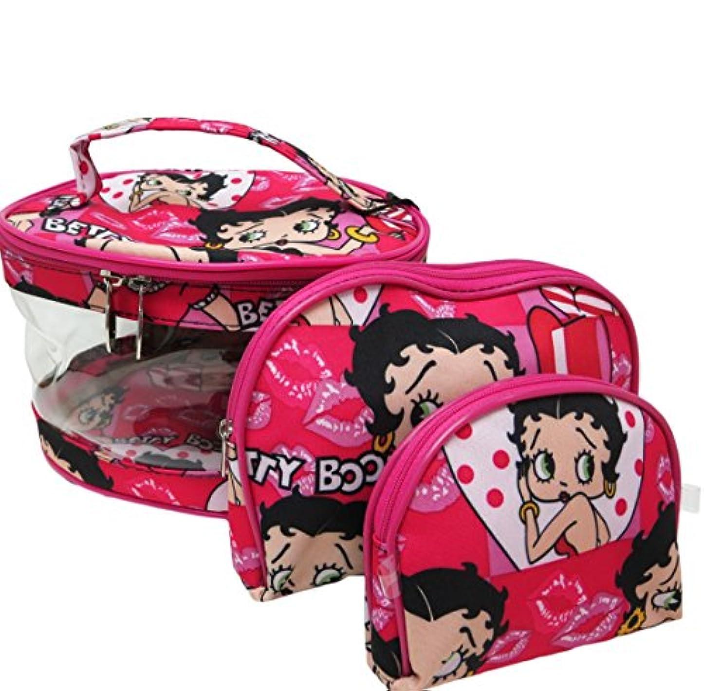 スクラップ難民聴衆Betty Boop ベティーブープ コスメティックバッグ3Pセット (ピンク)
